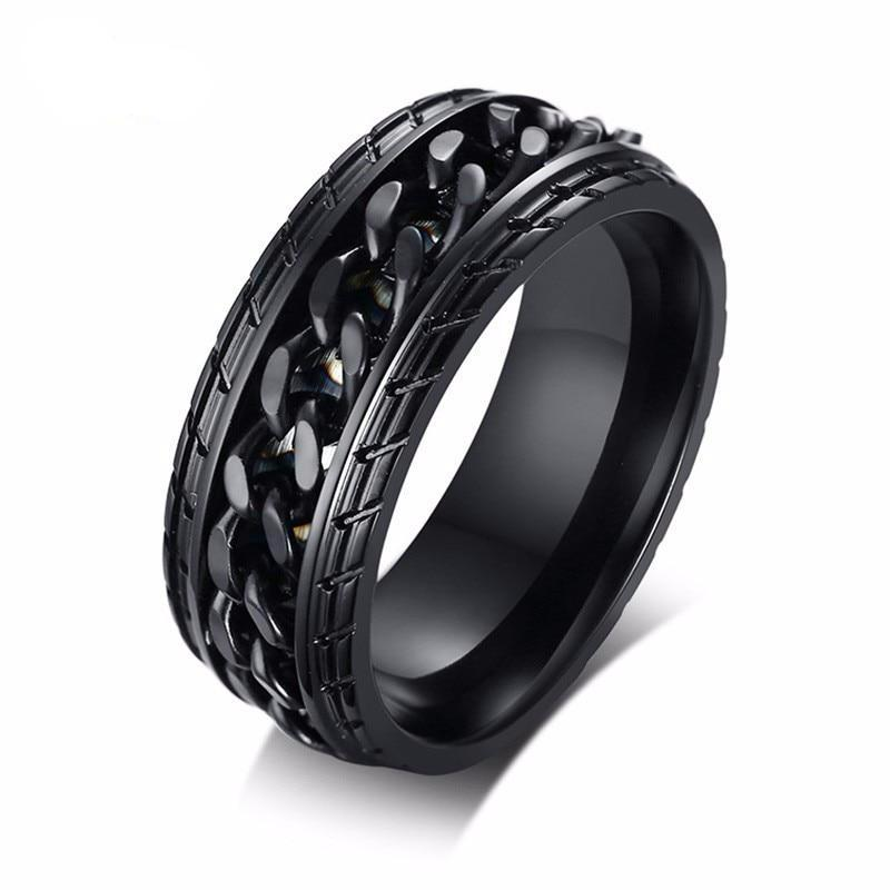 Men's Black Stainless Steel Chain Ring
