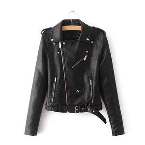 Women's Black Biker Faux Leather Jacket
