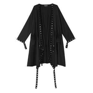 Women's Black  Long Studded Cape