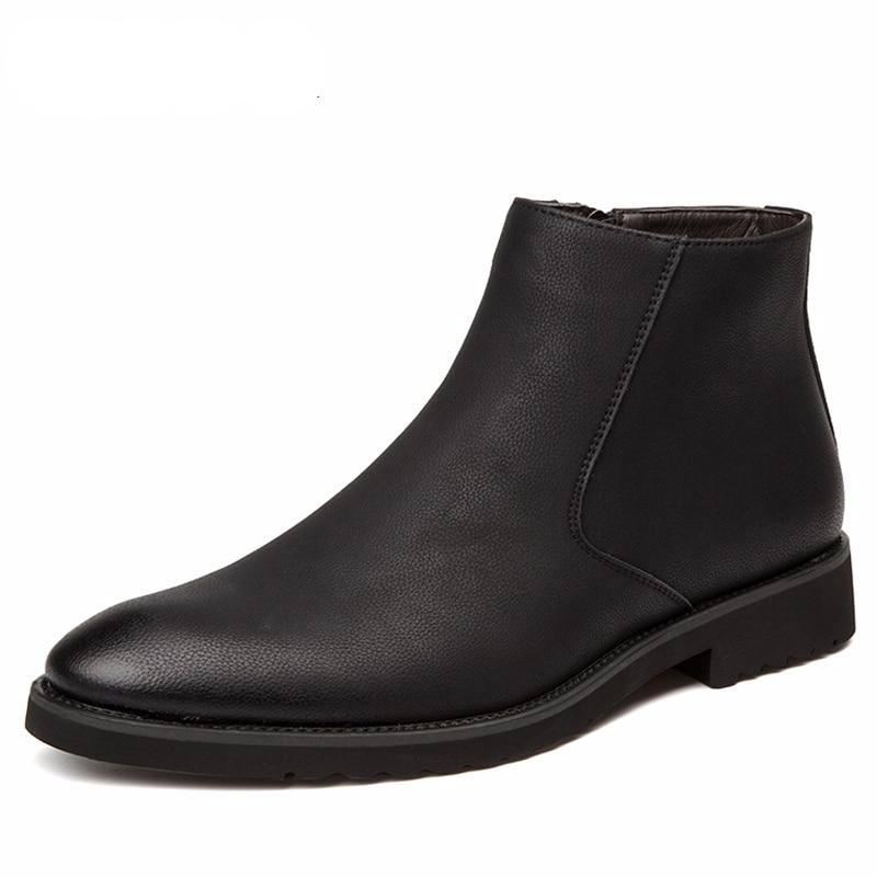 Men's Black Pointed Toe Dress Boots
