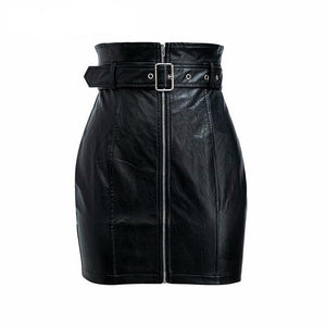 Women's Black High Waisted Belted Pencil Skirt
