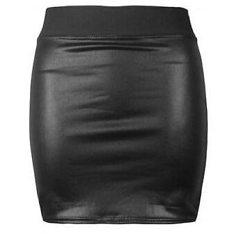 Women's Black High Waist Causal Mini Pencil Skirt