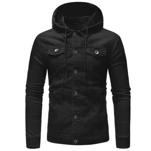 Men's Black Denim Hoodie Jacket