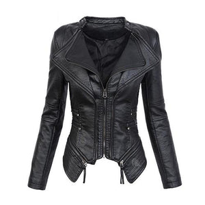 Women's Black Whichery Faux Leather Jacket