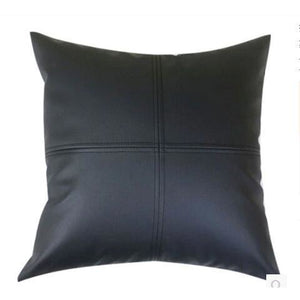 Black Simple Modern Faux Leather Pillowcase