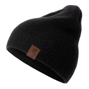 Unisex Black Knit Ribbed Beanie
