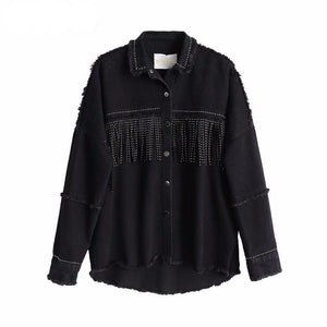 Women's Black Loose Denim Jacket with Tassels
