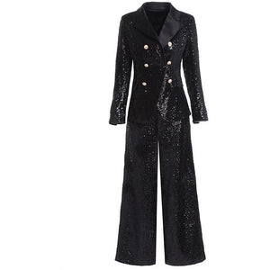 Women's Black Sequin Pant Suit Set
