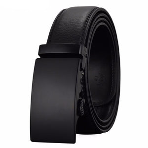 Men's Black Leather Belt with Matte Buckle