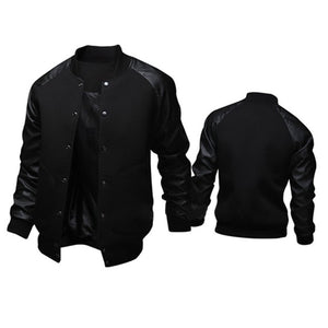 Men's Black Leather Sleeved Varsity Jacket