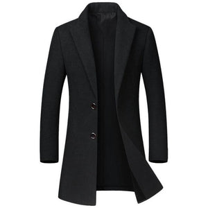 Men's Black Wool Trench Coat