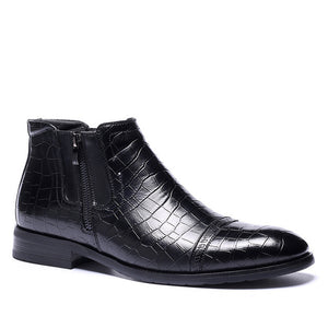 Men's Black Leather Ankle Boots