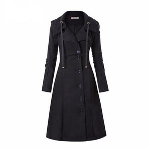 Women's Black Vintage Button Up Overcoat