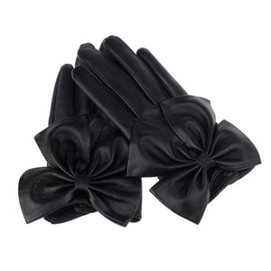 Women's Black Leather Gloves with Bow