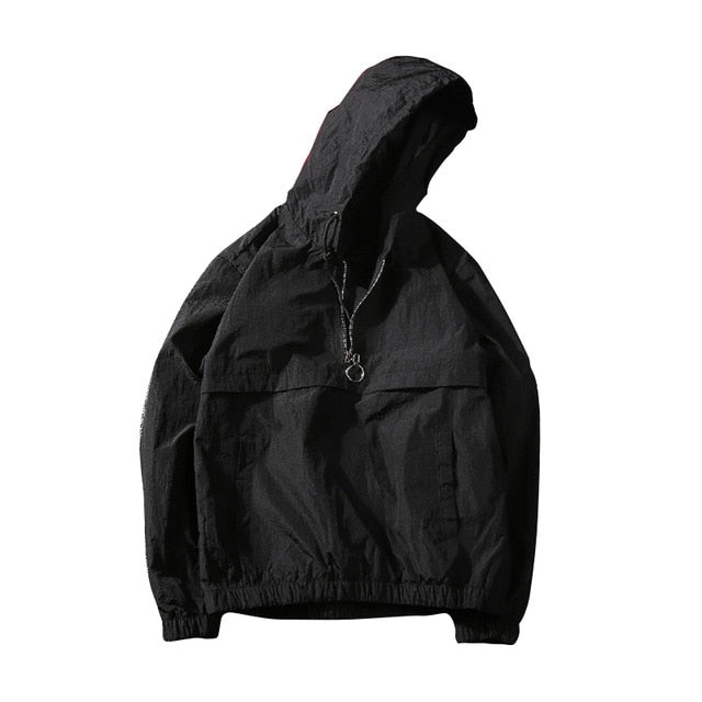 Men's Black Half-Zip Windbreaker