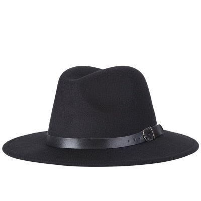 Women's Black Wide Brim Belted Hat