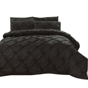Black 3 Piece Ruche Duvet Set