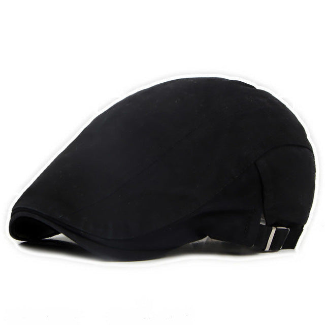 Men's Black Bone Brim Beret Cap
