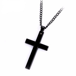 Unisex Black Stainless Steel Cross Chain Necklace