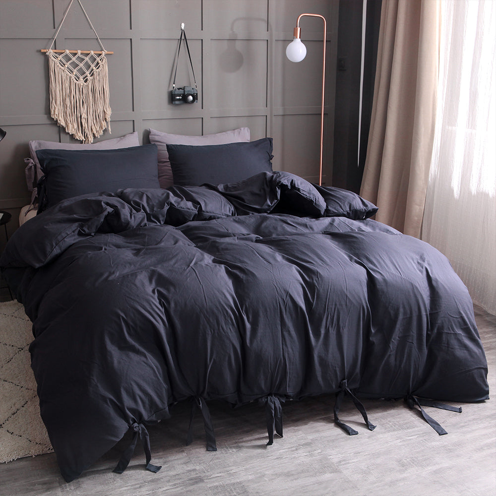 Black 3 Piece Duvet Bedding Set