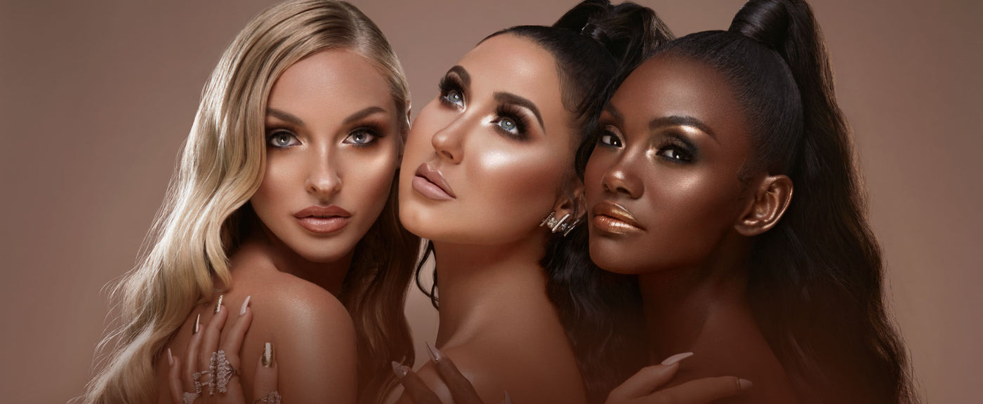 Jaclyn Hill and models wearing Holiday Collection highlighters in different shades.