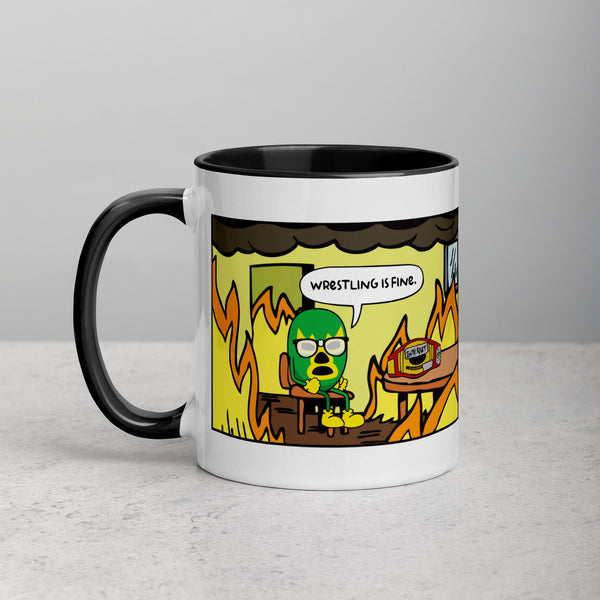 Wrestling Is Fine | Mug with Color Inside