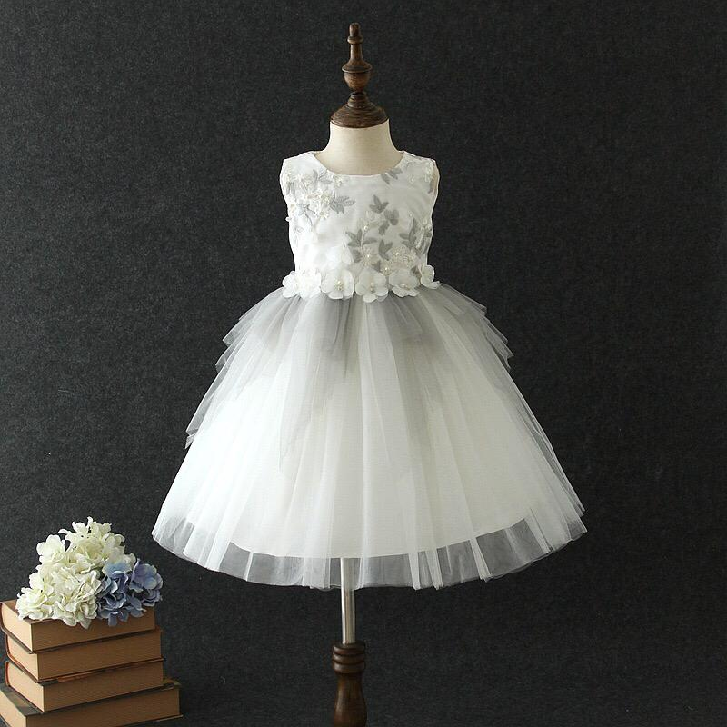 Lucia Dress in White and Grey