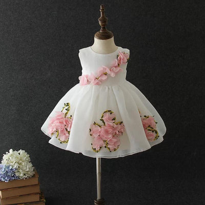Sofia Dress in White and Rose