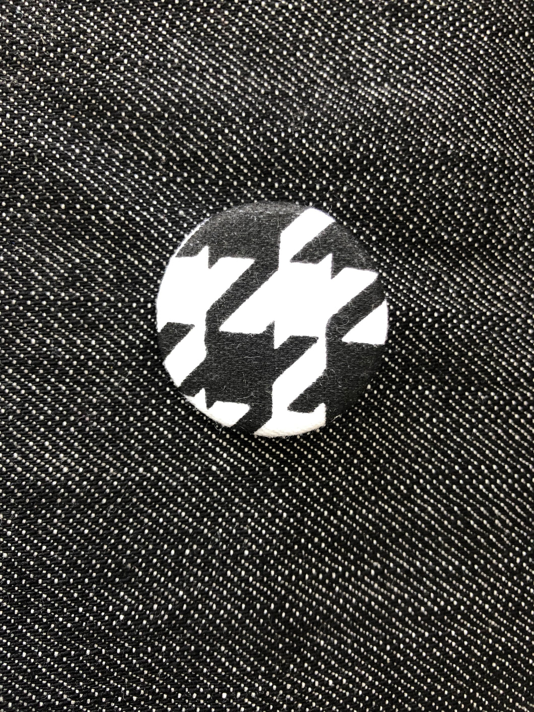 Houndstooth Fabric Button