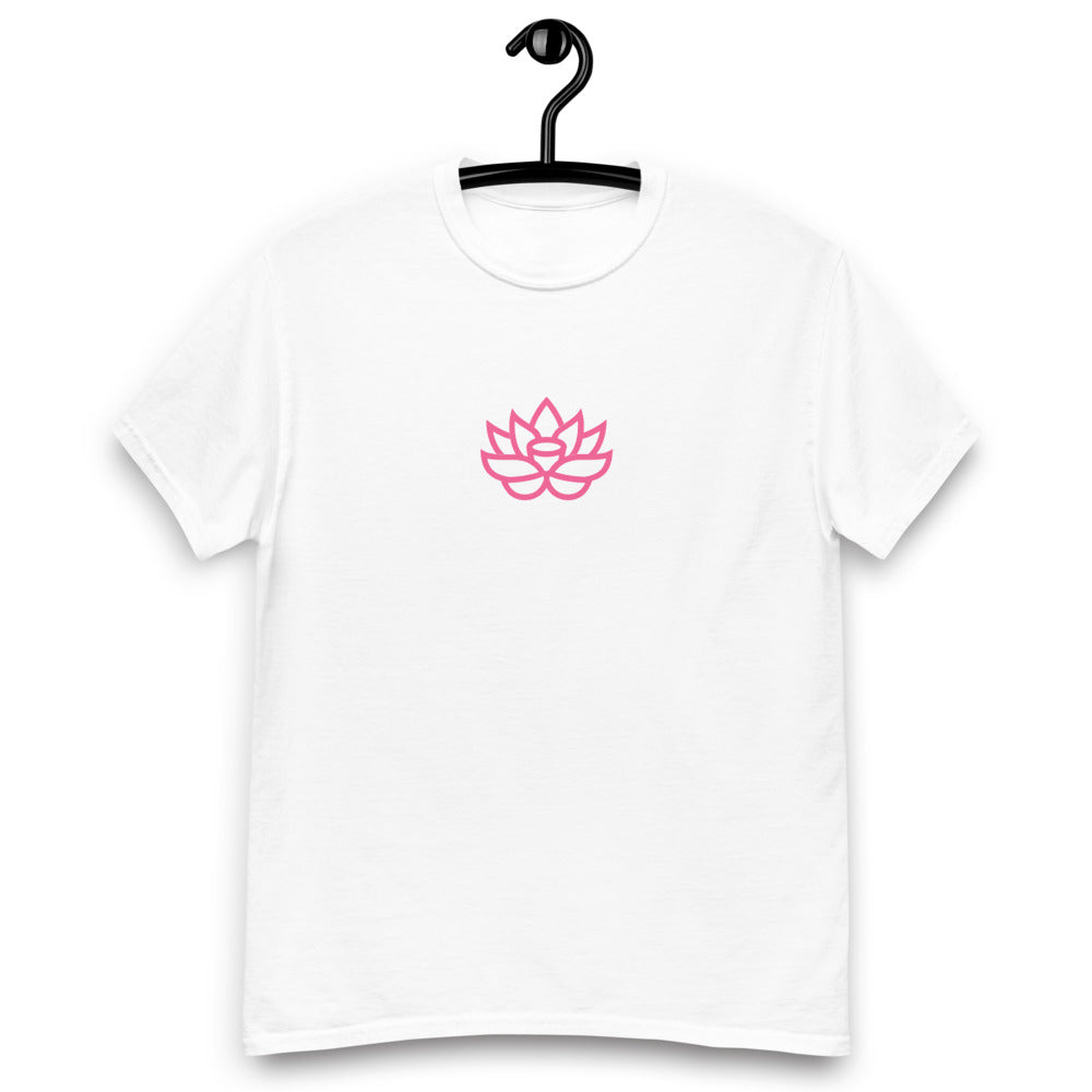 White T-Shirt with Pink Lily