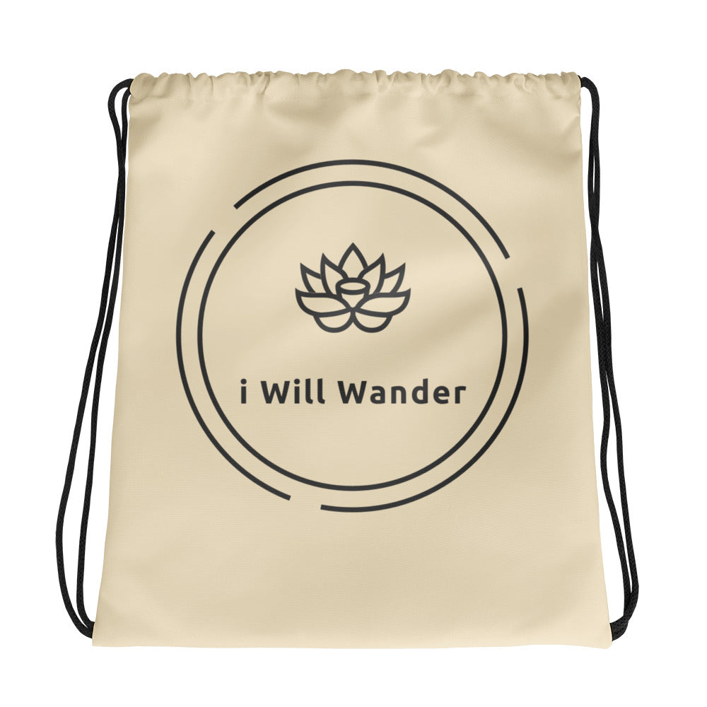 Drawstring Bag from i Will Wander - Beige + Black