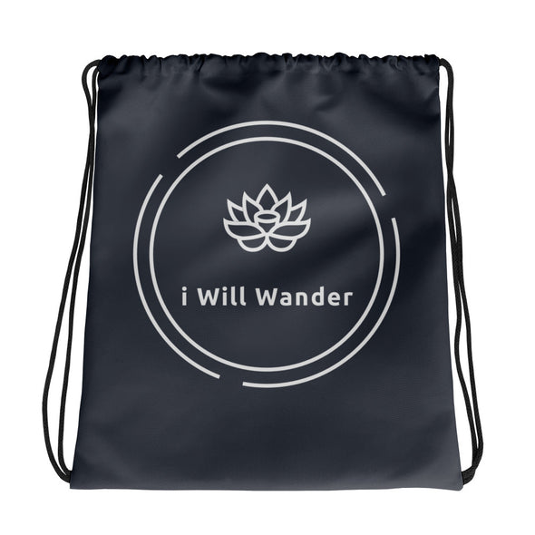 Drawstring Bag - Black + White  - i Will Wander