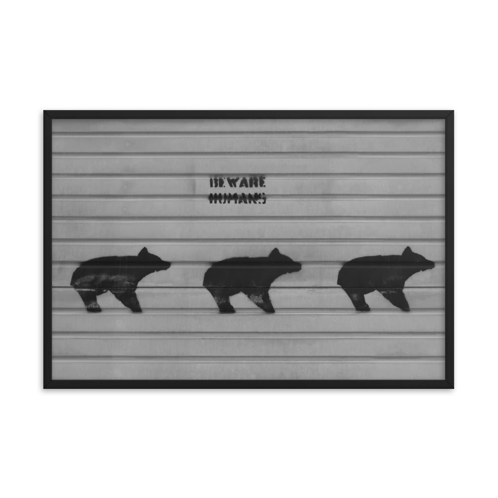 Bear Human Poster Warning