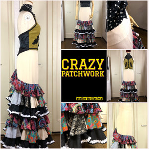 crazy patchwork falda