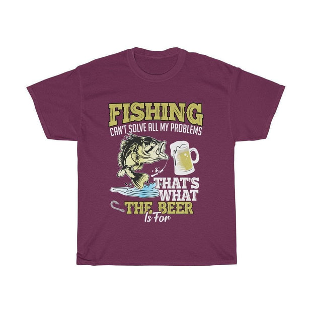 Fishing can't solve all my problems- Unisex Heavy Cotton Tee - Brag Fishing