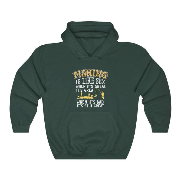 Fishing is like sex Unisex Heavy Blend™ Hooded Sweatshirt - Brag Fishing Australia