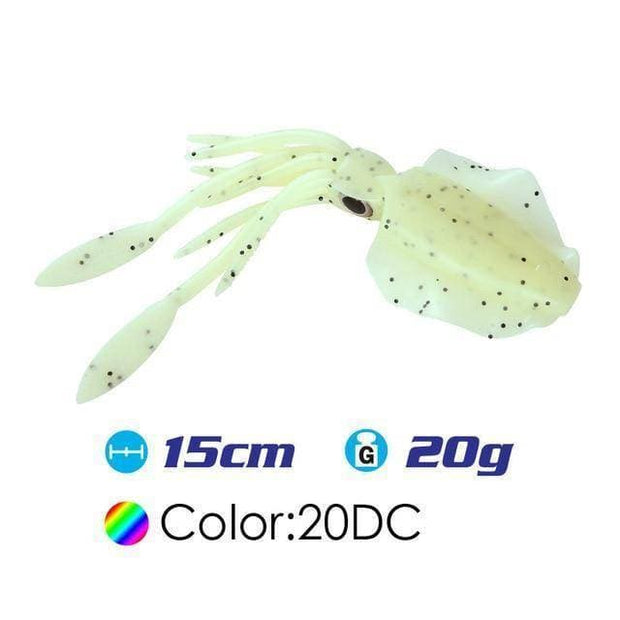 2pcs/lot 15cm/20g UV Glow soft lure Squid Soft Plastic Fishing Lure with lead insert squid soft lure squid baits - Brag Fishing