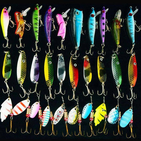 30pcs/lot Mixed Color/Size/Weight Spinner Metal Spoon Spinnerbaits CrankBait Hard Artificial Lures Fishing Lure Kits - Brag Fishing Australia