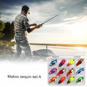 12 Sets Of Spoon-Shaped Shells Willow Full Metal Long-Range Iron Piece Fishing Lure