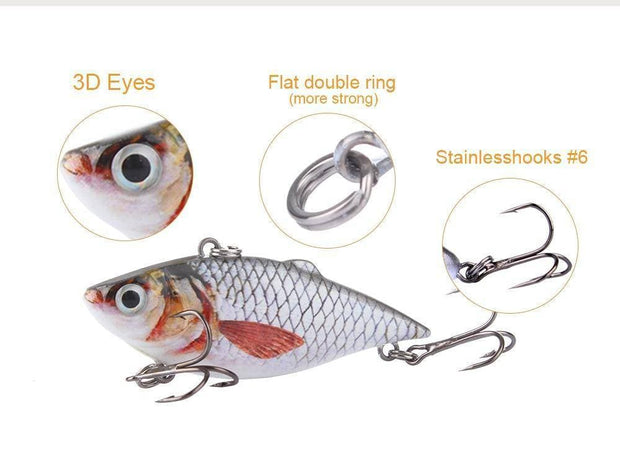 1pcs 6.3cm VIB Crankbait 8.5g Lifelike Fishing Lure High Quality Fishing Bait Slow Sinking Hard Fishing Wobbler Pesca Mini Vib - Brag Fishing Australia