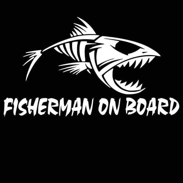 20cm*11.3cm  Fisherman On Board Skillet Fishing Decal Car Truck Boat Bumper Window Sticker Black/Silver C10-00057 - Brag Fishing Australia