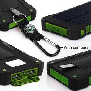 2019 New Portable Waterproof Solar Power Bank 30000mah Dual-USB Solar Battery Charger powerbank for all Phone Universal Charger