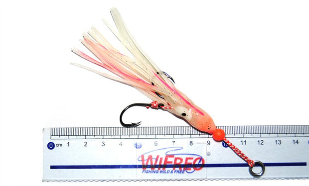 2PCS Luminous Squid Skirts With Two Hook Jigs Assist Hooks Trailer Saltwater Fishing Lures With Solid Ring