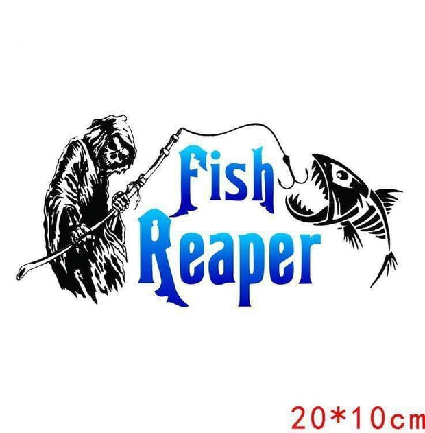 20CM*10CM Fish Reaper Skull Fishing Rod Car Boat Truck Window Vinyl Decal Graphic Sticker Stylings - Brag Fishing Australia