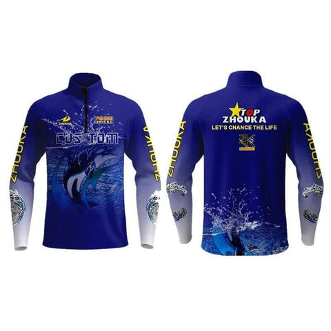 Jersey Fishing Clothing Long Sleeve Uv Protection Quick Dry Fishing Shirt With Fish Pattern Fishing Tops - Brag Fishing Australia