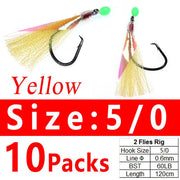 10Packs 5/0 Twin Hooks Flasher Rig Sabiki Snapper Snatcher flasher rigs for kingfish, salmon, tailor, flathead Pink Green Black