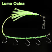 5PCS New Steel Wire Rigged Lumo Octopus Skirt Jig Lure with 5 Hooks Saltwater Fishing Bait