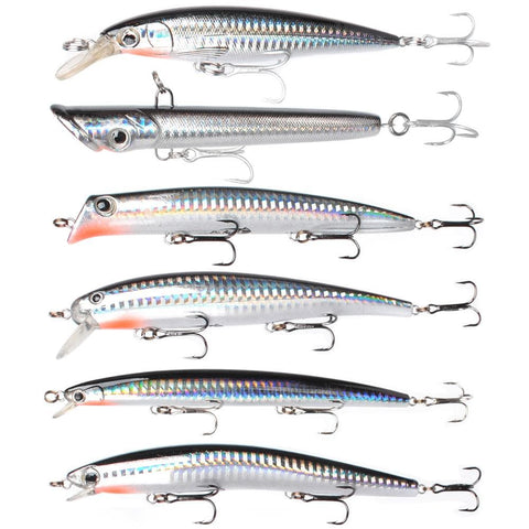 Dr.Fish Fishing Lure Lot 6 Minnow Wobblers Plug Popper Crankbait Saltwater 125mm Silver Surf Trolling Bait Mustad Treble Hook