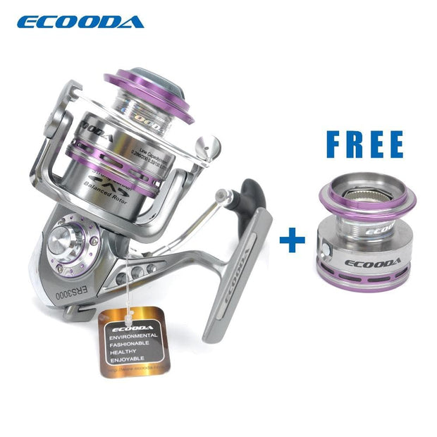 ECOODA Royal Sea Spinning Fishing Reel Metal Body Two Aluminum Spools Saltwater and Freshwater Open Face Reel ERS1500/2000/3000 - Brag Fishing