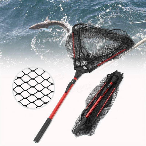 80cm Retractable Aluminum Alloy Single Triangular Ultra-Light Folding Handle Fishing Landing Net